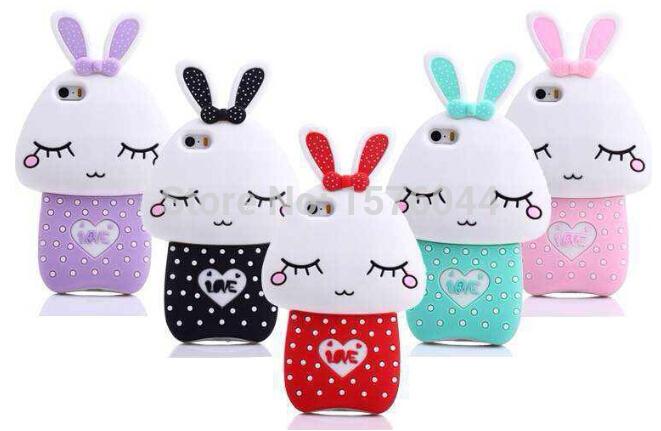 Mushroom rabbit mobile phone shell cute adorable rabbit silicone shell mobile phone protective sleeve for iPhone 5 free shipping(China (Mainland))
