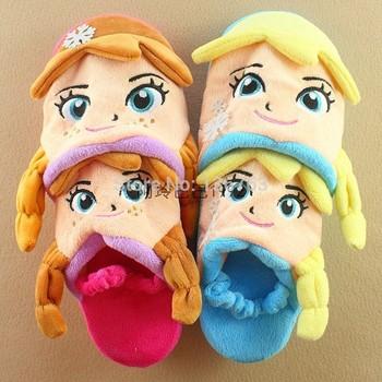 Мультфильм замороженные снежная королева 3D анна эльза дети плюшевые тапочки / дети принцесса зима теплая главная обувь для девочек