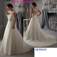 E123 2015 fashionable bride sheer back lace wedding dress plus size custom made bridal gown gowns vestido de noiva casamento