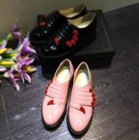 2015 spring New brand designer shoes woman Flat Platform genuine leather red fingers shoes Vintage moccasins free shipping YF 02
