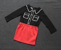 College Wind 5pc /Lot Wholesale Korean Girls Splicing Hit Color  Cotton Princess dress