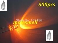 free shipping 500pcs 3mm Orange Candle Light Flicker Ultra Bright Flickering orange LED Leds 3mm water clear candle led