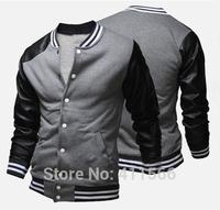 2015 New Hot Sale Men's Baseball Uniform Jackets Fashion Splice Sleeves Button Placket  Cardigan Slim Casual Coats Free Shipping