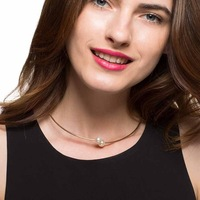 Statement Gold Cute Double Beads Pearl Pendant Necklace Choker Chunky Blogger