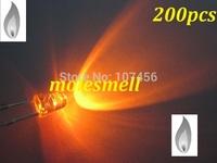 free shipping 200pcs 3mm Orange Candle Light Flicker Ultra Bright Flickering orange LED Leds 3mm water clear candle led