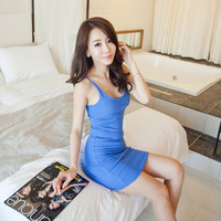 2015 New Fashion  Women Sexy Summer Dress Slim Casual Package Hip Bottoming Sling Dress Vestidos