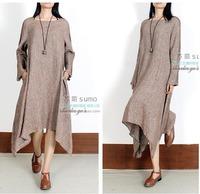 2015 Spring Original Design Women's National Style Vintage Casual Long Linen Dress Unique Irregular Full Sleeve Summer Dresses