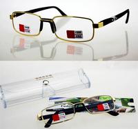 full rim gold alloy glasses lens Simple low-key design Comfortable men women reading glasses +1.00+1.50+2.00 +2.5+3.0+3.50+4.0
