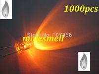 free shipping 1000pcs 3mm Orange Candle Light Flicker Ultra Bright Flickering orange LED Leds 3mm water clear candle led
