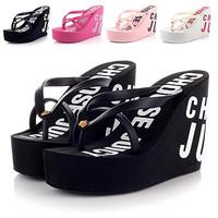 Free shipping 2015 summer 11cm high heels women trifle Rubber flip flops female JC platform wedges slippers girl's beach sandals