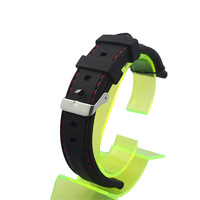 Men's Black Silicone Rubber Red Thread Stitch Craft 22 mm Waistband Straps Watchbands with Stainless Steel Metal Buckle New