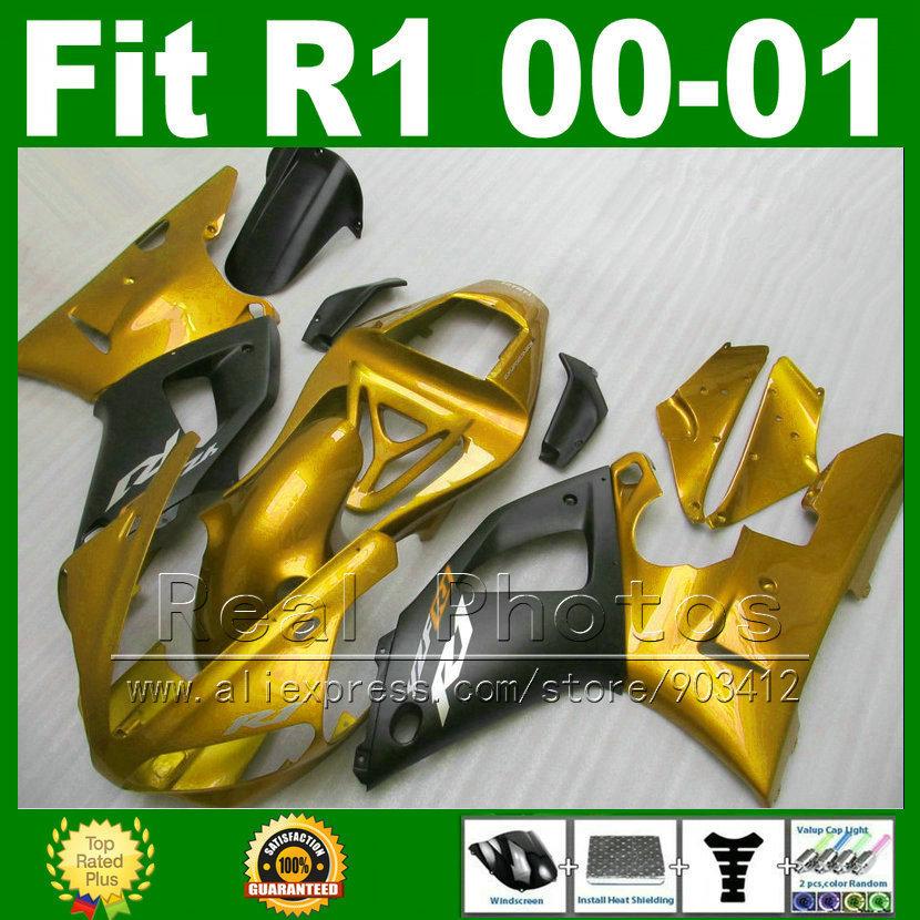 Golden color Fairings for YAMAHA 2000 2001 YZF R1 ABS plastic kits YZFR1 00 01 YZF1000 bodywork fairing kit part U8P1(China (Mainland))