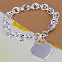 Best Gifts New Men Women Fashion 925 Sterling Silver Heart Love Romantic Silver Bracelets Wedding Jewelry LKNSPCH268