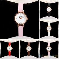 Women Rhinestone Rose Gold Alloy Case Ultra-thin Faux Leather Band Wrist Watch