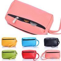 Women's Multifunctional Double-Zips Key Bag Faux Leather Purse Handbag Wallet