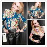 2015 New Cheap Cloth China woman V-Neck Women Blouse Chiffon Women Shirt Tops Solid Long Sleeve Blusas Femininas Free Shipping
