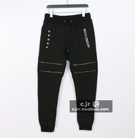 The trend of the boy l embroidery pentastar zipper plus velvet health pants casual trousers thermal skinny pants trousers