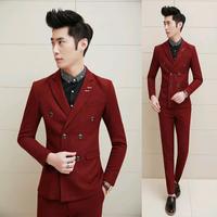 Spring 2015 Fashion Men's Tuxedo Slim Fit Custom Korean Suit Men Wedding Suit 3 Piece Suits For Men With Vest Black Red M-XXL