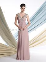 2014 V Neck Empire Waist Long Chiffon Fomal Elegant Evening Mother of the Bridal Dresses