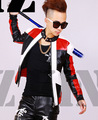 S 4XL Men s fashion DJ nightclub singer GD Black and white red stitching motorcycle leather