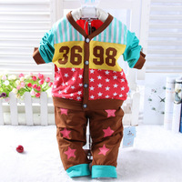 2015 New baby spring cotton suit charater number star chidlren clothing set 9655