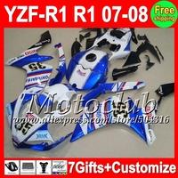 7gifts+Blue white Fairing For YAMAHA YZFR1 07 08  07-08 YZF 1000 C102304 YZF-R1 2007 2008 Blue FIMER YZF1000 YZF R1 07 08 Kit