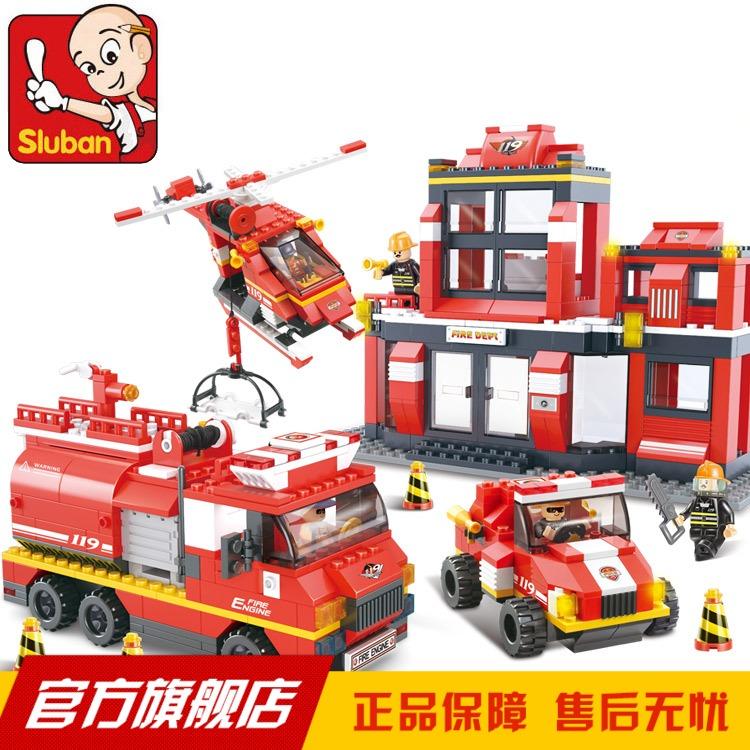Sluban assembling building blocks model big thepole speed assembling toys blocks car(China (Mainland))