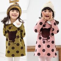 2015 spring dot cat girls clothing baby child children sweatshirt outerwear tops for girls