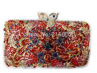 Ladies colorful rhinestone wedding bag in RED, GOLD, BLACK. Female fashion evening clutch bag. Elegant purse.