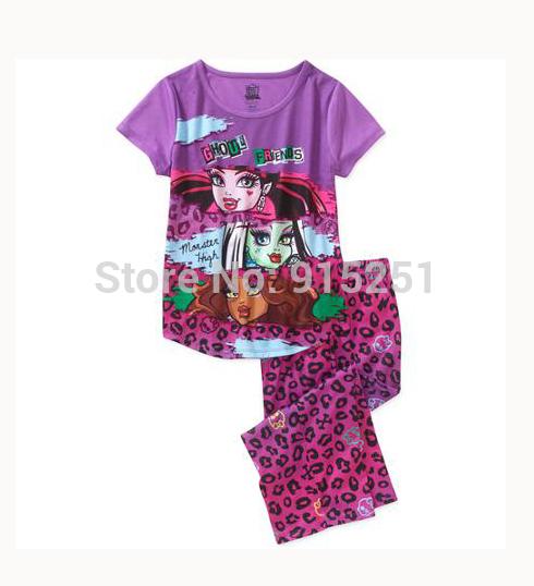 2015 spring summer girls monster high sleep set Pajamas set sleepwear girl leopard homewear cartoon costumes kids(China (Mainland))