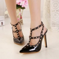 FREE SHIPPING 2015 star fashion new arrival shoes hot-selling rivet high-heeled shoes classic high-heeled shoes