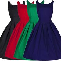Women Cotton Pleated Retro Elastic Waist Slim Ball Gown Bubble Skirt Party Dress