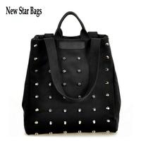 2015 New Fashion Women Rivet canvas handbags fashion black shoulder bags .S18E