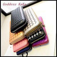 Hot Fashion Knitting Casual Clutch for women Wallet purses PU Leather Day Clutch Coins folder Zipper Wallet for women CH003