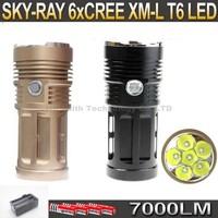 SKY RAY King 7000 Lumens 6xCREE XM-L T6 3-mode LED Flashlight 6T6 Torch + 4 *  4000Mah 18650 Battery + Charger