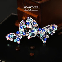 Luxurious Super Cute Loving Butterfly Long Hair Clip STELLUX Stone Barrettes Hair Ornament Accessories For Women Beautyer BFS99