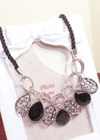 Exaggerated black oval gem hollow droplets Rhine stone rope chain short necklace clothing accessories