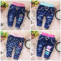4pc/lot wholesale baby girls jeans dots kitty kids pants denim children clothing factory a026