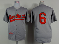 2015 New Cardinals Jerseys Baseball Jersey Embroidery Logos Mix Orders #6 Stan Musial Gray Throwback jersey1468