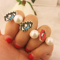 New Vintage Women Ring Fashion Accessories Pearl Red Lip Angle Eyes Finger Rings for Women Free Shipping RI014
