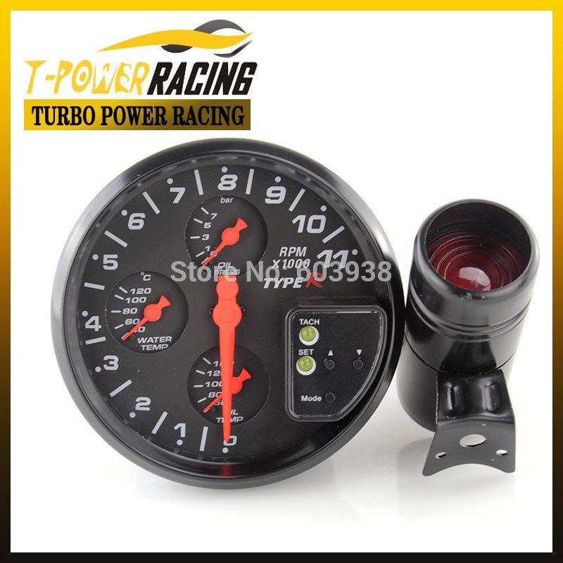 """2015 limitada Tacometro Universal 5 """" preto 4-em-1 tacômetro água Temp medidor medidor de pressão de óleo / auto Meter / auto medidor / car Meter(China (Mainland))"""