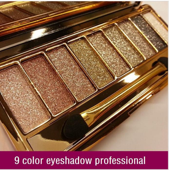 New women 9 colors diamond bright colorful makeup eye shadow super flash Glitter eyeshadow palette make up set with brush(China (Mainland))