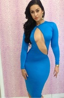 2015 hot sale Sexy dress long sleeve women slim sexy dresses Hollow Out dress new style Clubwear party dress blue color