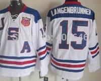 2010 Team USA #15 Jamie Langenbrunner white ice hockey jerseys, please read size chart before order