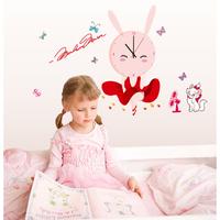 Diy wall clock wall clock 3d cartoon wall stickers mute baby rabbit child clock