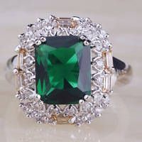 2015 New Royal Emerald Quartz 925 Silver Ring Size 7 Handsome Women Fashion Jewelry Free Shipping Wholesale