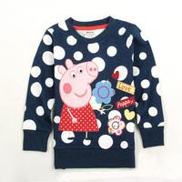 New 2015 Casual dress Peppa pig clothing child polka dot sweatshirt pullover pink pig 100% cotton baby girls long sleeve t shirt