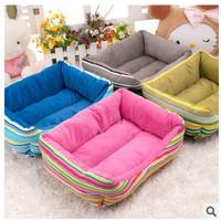 Hotsale Cheap Soft Rainbow Stripe Fleece Pet Kennel  Dog Warm Bed House Plush Nest Mat Pad