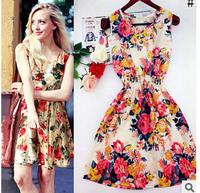 Women Dresses 2015 Summer Plus Size Print Chiffon Dress Fashion Sleeveless Floral Patterns Bohemian Beach Dresses Vestidos