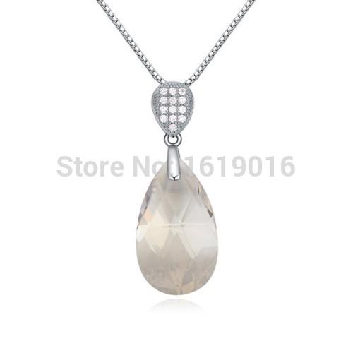 2015 new, free shipping copper / tin alloy rhodium, Austrian crystal fashion necklace. Micro CZ stone, citrine smoke,(China (Mainland))